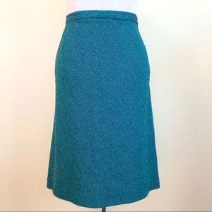 Vintage Diane Roberts Teal Knit Pencil Skirt